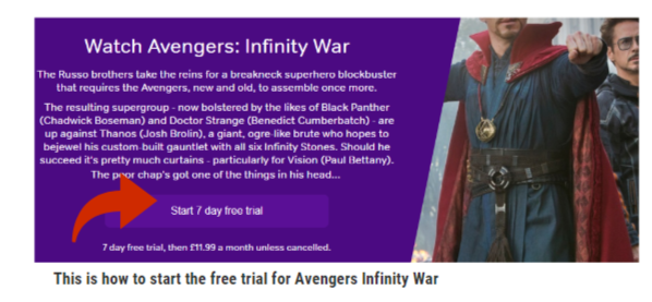 watch Avengers Infinity War with a free trial