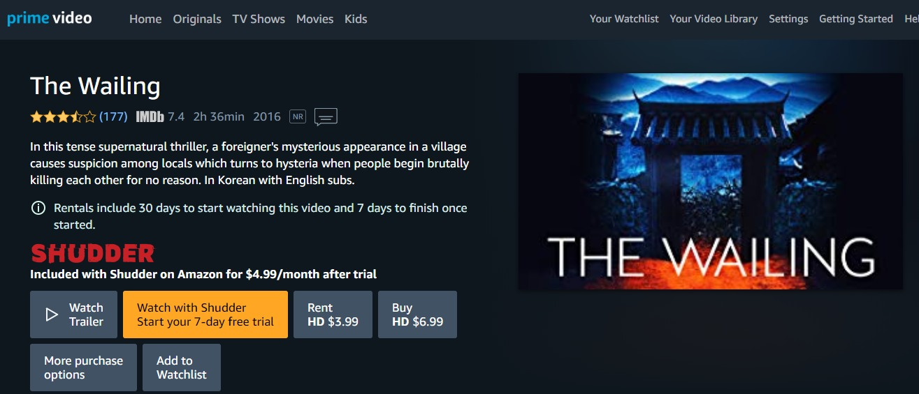 The Wailing on Amazon Prime Video