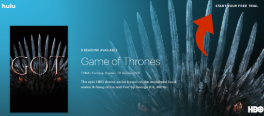 watch Game of Thrones online with a hulu free trial