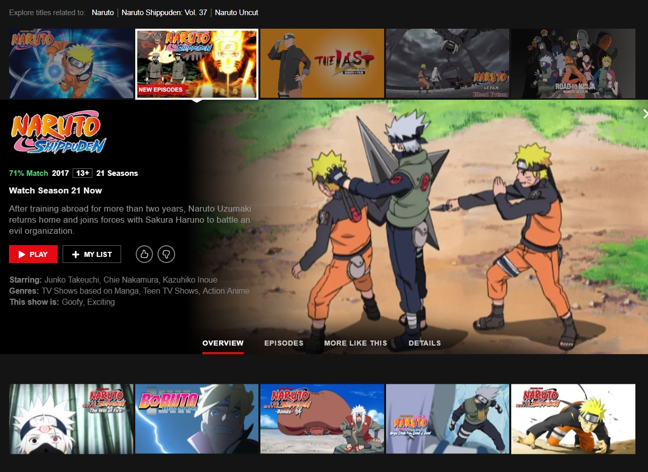 This is me connected to the French version of Netflix - you can see that Naruto Shippuden as well as other Naruto related content is available to watch