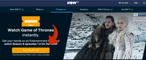 watch Game of Thrones online in the UK with a free trial