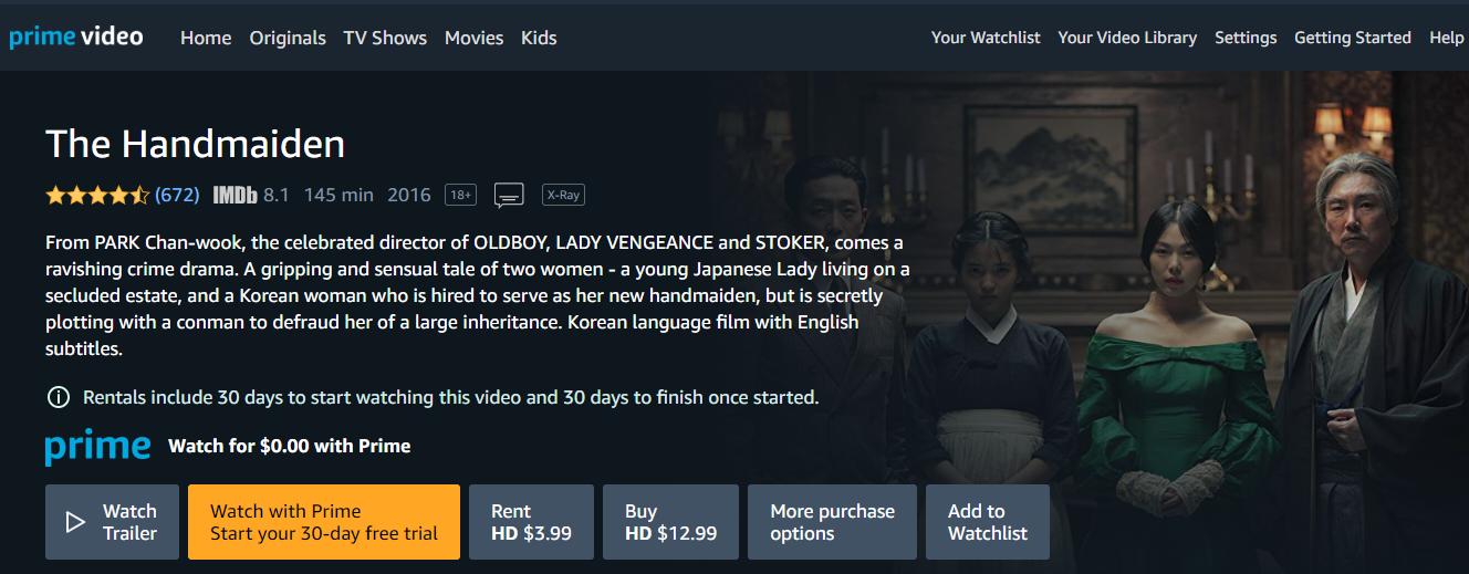 watch The Handmaiden Amazon Prime free Korean film